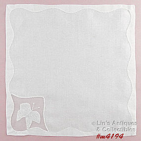 WHITE WITH BUTTERFLY CORNER HANDKERCHIEF
