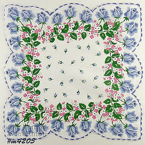 BLUE ROSES LARGE SIZE HANDKERCHIEF