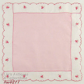 PINK HANDKERCHIEF WITH PINK ROSES