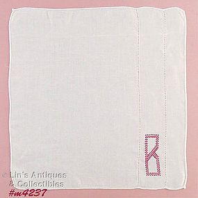 CROSS-STITCHED �B� MONOGRAM HANDKERCHIEF