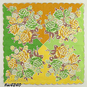 BEIGE AND GREEN ROSES HANDKERCHIEF