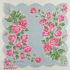 BOUQUETS OF PINK ROSES HANDKERCHIEF