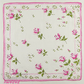 PINK AND WHITE ROSES HANDKERCHIEF