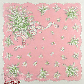 PINK HANDKERCHIEF WITH LILY OF THE VALLEY