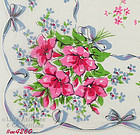PINK FLOWERS WITH BLUE RIBBON HANDKERCHIEF