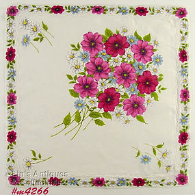 BOUQUET OF PINK FLOWERS HANDKERCHIEF