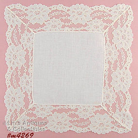 WEDDING HANDKERCHIEF WITH LACE EDGING