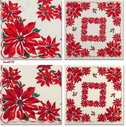 CHRISTMAS HANKY WITH LOTS OF POINSETTIAS