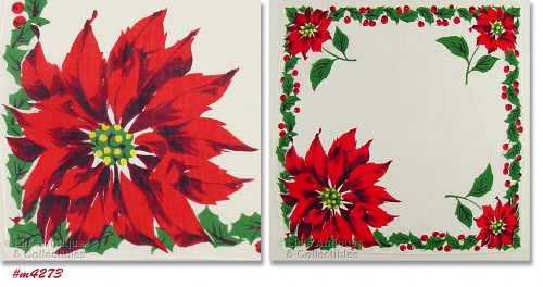 CHRISTMAS HANKY WITH BRIGHT RED POINSETTIAS