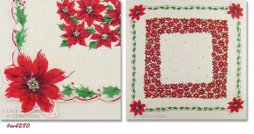 POINSETTIAS, HOLLY, AND SNOWFLAKES CHRISTMAS HANKY