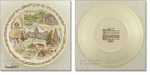 VERNON KILNS SOUVENIR PLATE FOR PENNSYLVANIA