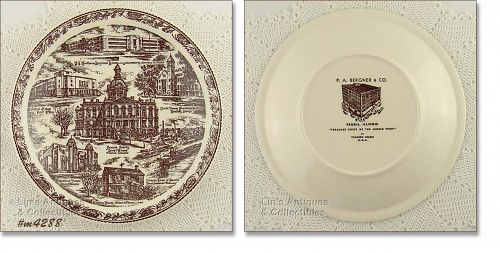 VERNON KILNS SOUVENIR PLATE PEORIA, ILLINOIS
