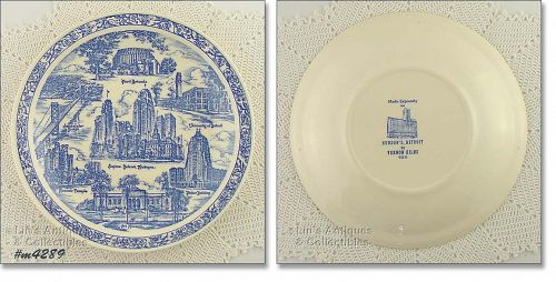 VERNON KILNS SOUVENIR PLATE DETROIT, MICHIGAN