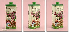 VINTAGE TIN OF LILACS AND ROSES TALC BY LANDER, NY
