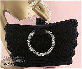 VINTAGE BLACK CROCHET HANDBAG WITH LUCITE HANDLES