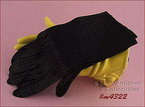 DARK BROWN LEATHER GLOVES  (SIZE 6 � 6 ½)