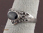 SILVER RING WITH BLACK ONYX (SIZE 5 ¾)