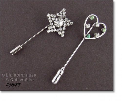 TWO RHINESTONE STICK PINS (ONE IS STERLING)