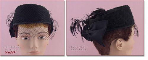 BELLINI BLACK HAT WITH NETTING VEIL