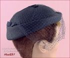 NAVY BLUE HAT WITH NETTING VEIL