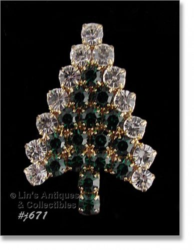 EISENBERG ICE � GREEN AND CLEAR RHINESTONE TREE PIN