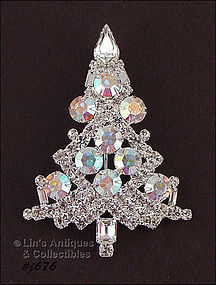 EISENBERG ICE �LARGE CLEAR AND AURORA BOREALIS TREE PIN
