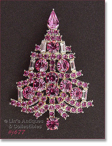 EISENBERG ICE � PINK RHINESTONE CANDLE TREE PIN