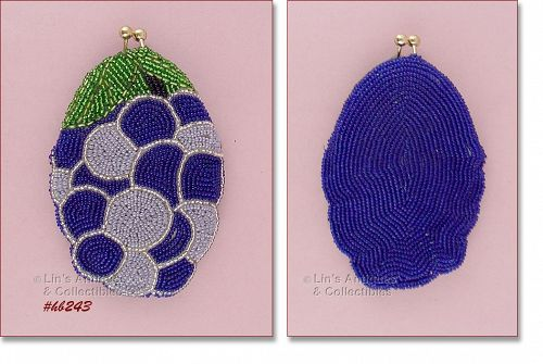 GRAPE CLUSTER BEADED COIN PURSE