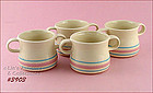 McCOY POTTERY � PINK AND BLUE 4 DOUBLE HANDLE SOUPS