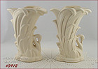 McCOY POTTERY � PAIR OF SWAN VASES (MATTE WHITE)