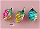 3 GLASS CORN (OR ACORN) ORNAMENTS