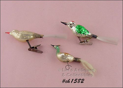 3 GLASS BIRD SHAPED CLIPS / ORNAMENTS