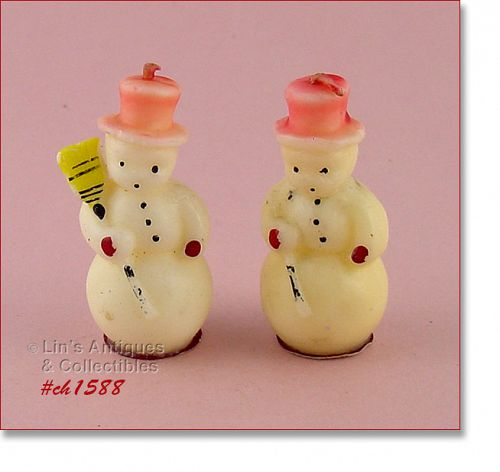 TAVERN CANDLE COMPANY � 2 SMALL SNOWMEN CANDLES
