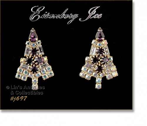 EISENBERG ICE � PURPLE CHRISTMAS TREE EARRINGS (PIERCED