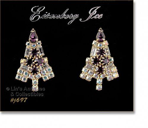 EISENBERG ICE � PURPLE CHRISTMAS TREE EARRINGS (PIERCED