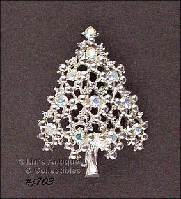 EISENBERG ICE � SILVER-TONE CHRISTMAS TREE PIN