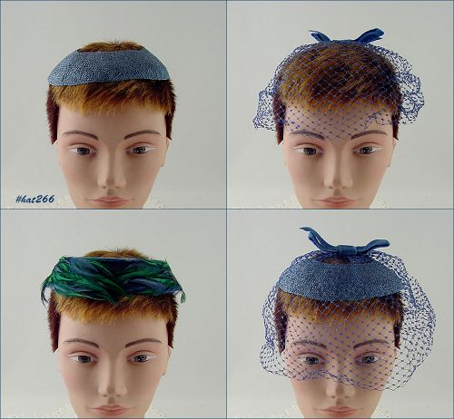 NETTING VEIL HAT AND 2 CAGE STYLE HATS