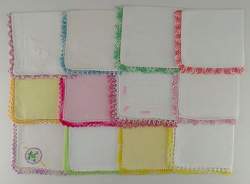 1 DOZEN HANDKERCHIEFS WITH TATTING EDGING (LOT #T2
