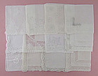 One Dozen White / Wedding Vintage Hankies (Lot #34)