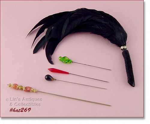 4 VINTAGE HAT PINS AND 1 HAT ADORNMENT