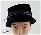 VINTAGE BLACK HAT DESIGNED BY PHYLLIS OF NEW YORK