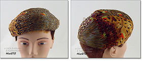 VINTAGE HAT COVERED WITH BEAUTIFUL FEATHERS MADE IN FRANCE