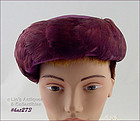 VINTAGE PLUM COLOR HAT WITH FEATHERS BY CAROL