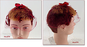 VINTAGE RED NETTING VEIL HAT WITH ORIGINAL SALES TAG