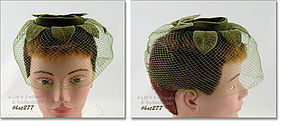 VINTAGE GREEN NETTING VEIL HAT
