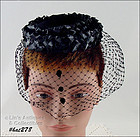 UNUSUAL DESIGN VINTAGE MOURNING HAT WITH NETTING VEIL