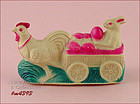 VINTAGE CHICKEN PULLING EASTER BUNNY IN CART TOY