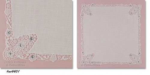 WEDDING HANDKERCHIEF WITH LACE AND RIHNESTONES