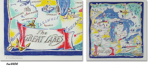SOUVENIR HANDKERCHIEF, THE GREAT LAKES