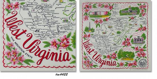 STATE SOUVENIR HANKY, WEST VIRGINIA �THE MOUNTAIN STATE�